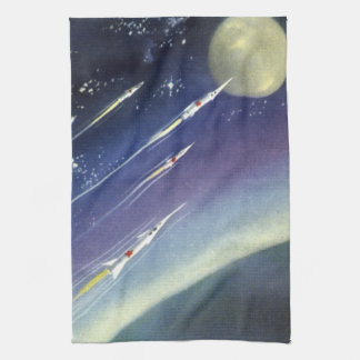 Vintage Science Fiction Rockets in Space by Planet Tea Towel