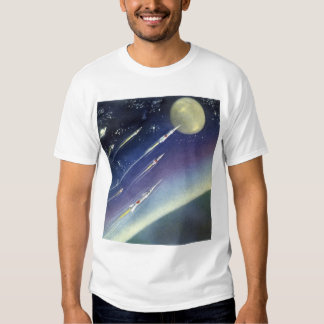 Vintage Science Fiction Rockets in Space by Planet Tee Shirt
