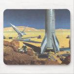 Vintage Science Fiction Rockets on Desert Planet Mousepads