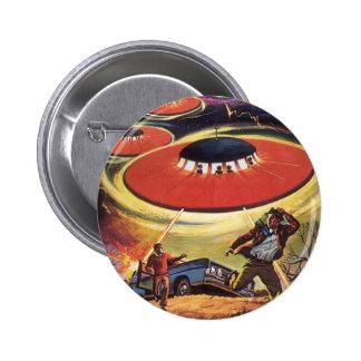 Vintage Science Fiction, Sci Fi, Alien Invasion Pinback Button