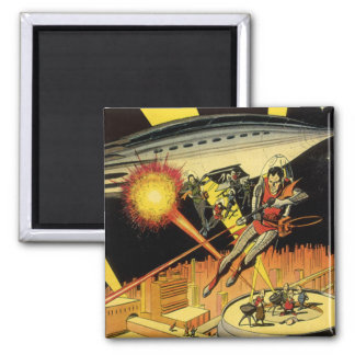 Vintage Science Fiction, Sci Fi Aliens from UFO Square Magnet