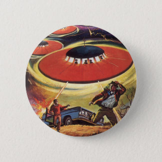 Vintage Science Fiction, Sci Fi UFO Alien Invasion 6 Cm Round Badge