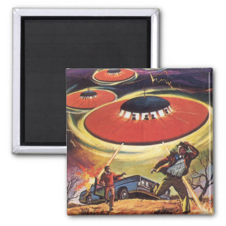 Vintage Science Fiction, Sci Fi UFO Alien Invasion Square Magnet