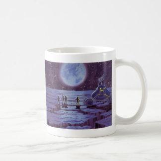 Vintage Science Fiction, SciFi Alien Lunar Landing Basic White Mug