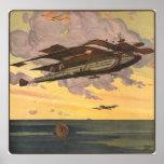 Vintage Science Fiction Seaplane Aeroplane Ship Poster