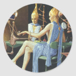 Vintage Science Fiction Spa Beauty Salon Manicures Classic Round Sticker