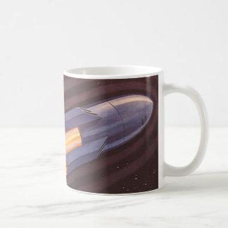 Vintage Science Fiction Space Ship Rockets Basic White Mug
