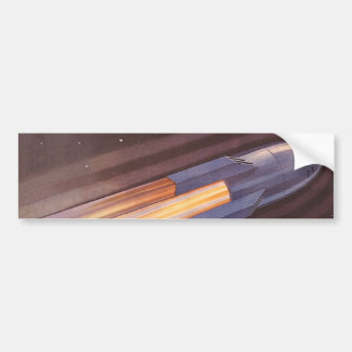 Vintage Science Fiction Space Ship Rockets Bumper Sticker