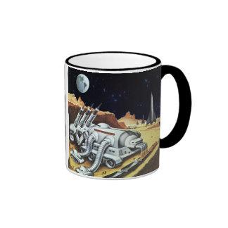 Vintage Science Fiction, Space Station on the Moon Ringer Mug