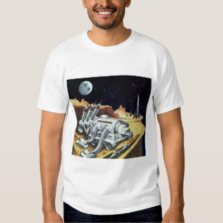 Vintage Science Fiction, Space Station on the Moon Tshirts