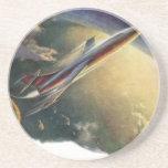 Vintage Science Fiction Spaceship Aeroplane Earth Drink Coaster