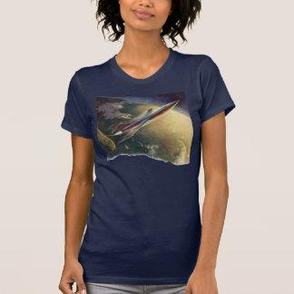 Vintage Science Fiction Spaceship Airplane Earth Tee Shirts