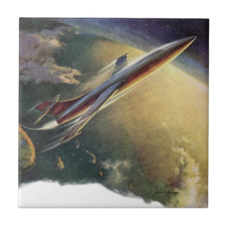 Vintage Science Fiction Spaceship Airplane Earth Tile
