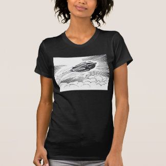 Vintage Science Fiction Spaceship Rocket in Clouds T-Shirt