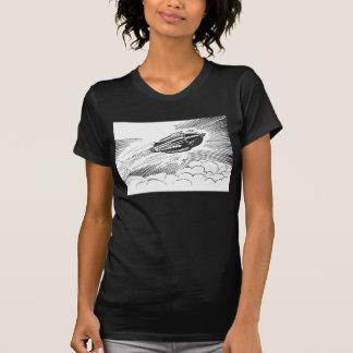 Vintage Science Fiction Spaceship Rocket in Clouds Tee Shirt