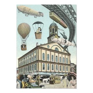 Vintage Science Fiction, Steam Punk Victorian City 13 Cm X 18 Cm Invitation Card