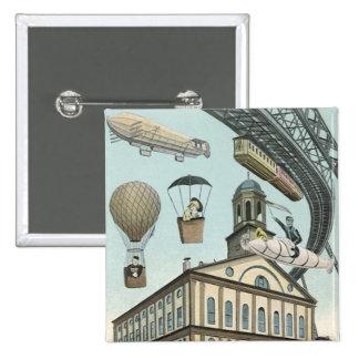 Vintage Science Fiction, Steam Punk Victorian City 15 Cm Square Badge