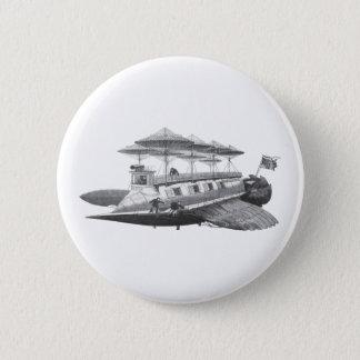 Vintage Science Fiction Steampunk Airship Eclipse 6 Cm Round Badge