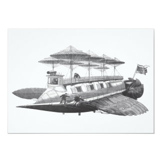 Vintage Science Fiction Steampunk Airship Eclipse Personalized Announcements