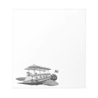 Vintage Science Fiction Steampunk Airship Eclipse Notepad