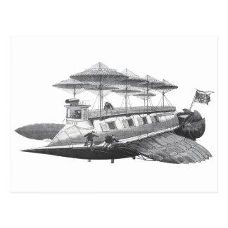 Vintage Science Fiction Steampunk Airship Eclipse Postcard