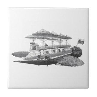 Vintage Science Fiction Steampunk Airship Eclipse Tile