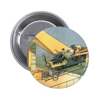 Vintage Science Fiction Steampunk Convertible Car 6 Cm Round Badge