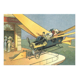 Vintage Science Fiction Steampunk Convertible Car Personalized Invitations
