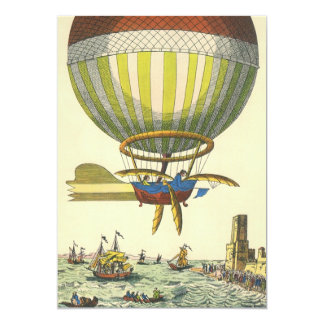 Vintage Science Fiction Steampunk Hot Air Balloon 13 Cm X 18 Cm Invitation Card