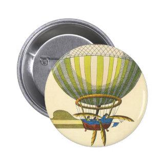 Vintage Science Fiction Steampunk Hot Air Balloon 6 Cm Round Badge