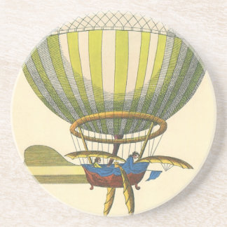 Vintage Science Fiction Steampunk Hot Air Balloon Drink Coaster