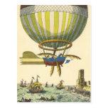Vintage Science Fiction Steampunk Hot Air Balloon Post Card