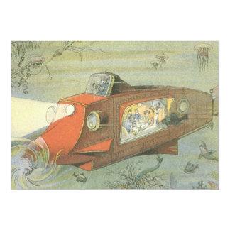 Vintage Science Fiction Steampunk Submarine in Sea 13 Cm X 18 Cm Invitation Card