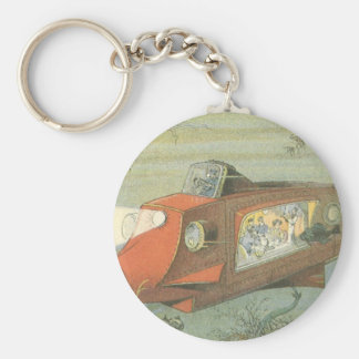 Vintage Science Fiction Steampunk Submarine in Sea Key Ring