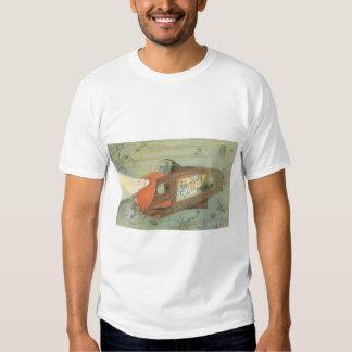 Vintage Science Fiction Steampunk Submarine in Sea Tshirt