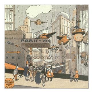 Vintage Science Fiction Steampunk Urban Paris Personalized Invitations