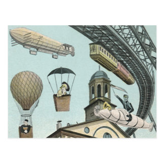 Vintage Science Fiction, Steampunk Victorian City Post Cards
