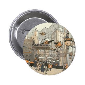 Vintage Science Fiction Urban Paris, Steam Punk 6 Cm Round Badge