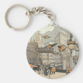 Vintage Science Fiction Urban Paris, Steam Punk Basic Round Button Key Ring