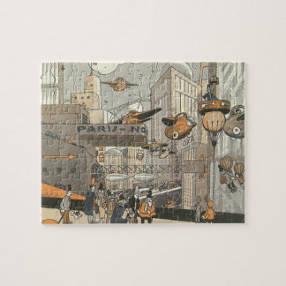 Vintage Science Fiction Urban Paris, Steam Punk Jigsaw Puzzle