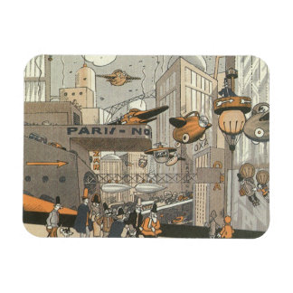 Vintage Science Fiction Urban Paris, Steam Punk Magnet