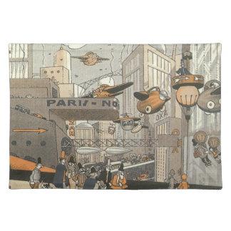 Vintage Science Fiction Urban Paris, Steam Punk Placemat