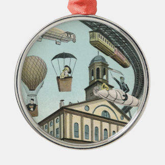 Vintage Science Fiction, Victorian Steam Punk City Silver-Colored Round Decoration