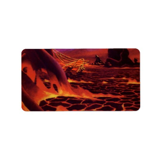 Vintage Science Fiction Volcano Planet w Red Lava Address Label