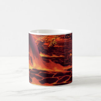 Vintage Science Fiction Volcano Planet w Red Lava Basic White Mug
