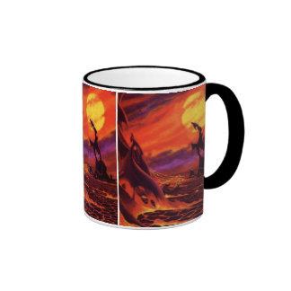 Vintage Science Fiction Volcano Planet w Red Lava Ringer Mug