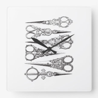 Vintage Scissors Elegant Black White Decorative Square Wall Clock