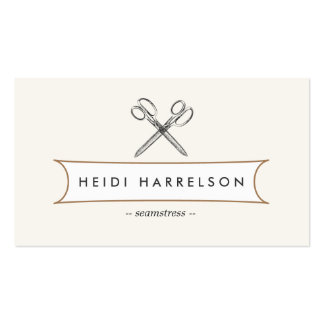VINTAGE SCISSORS LOGO for Seamstress, Crafters Pack Of Standard Business Cards