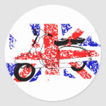 Vintage Scooter and faded Union jack Round Stickers