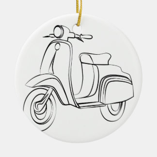 Vintage Scooter Double-Sided Ceramic Round Christmas Ornament